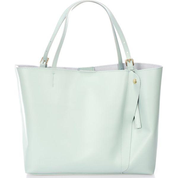 551e4af6de619 Skórzana torebka w kolorze błękitnym - 45 x 40 x 18 cm - Torebki ...