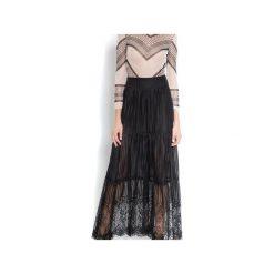 Koronkowa spódnica maxi. Czarne spódnice damskie Sax35th by alicja czarniecka, na lato, w koronkowe wzory, z jedwabiu. Za 400.00 zł.