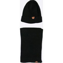 U.S. Polo - Komplet czapka + szalik. Szare czapki i kapelusze męskie marki Giacomo Conti, na zimę, z tkaniny. W wyprzedaży za 139.90 zł.