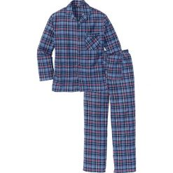 Piżama flanelowa bonprix niebieski w kratę. Niebieskie piżamy męskie bonprix, z bawełny. Za 89.99 zł.