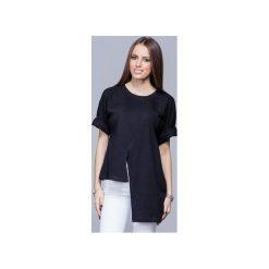 Asymetryczna unikatowa koszulka czarna H014. Czarne t-shirty damskie Harmony, z bawełny, z asymetrycznym kołnierzem. Za 134.00 zł.