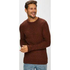 Selected - Sweter. Brązowe swetry przez głowę męskie Selected, z bawełny, z okrągłym kołnierzem. W wyprzedaży za 179.90 zł.