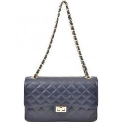 Skórzana torebka w kolorze niebieskim - (S)27,5 x (W)18 x (G)9 cm. Niebieskie torby na ramię damskie Akcesoria na sylwestrową noc. W wyprzedaży za 279.95 zł.