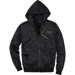 Bluza rozpinana trykotowa Slim Fit bonprix czarny. Czarne bluzy męskie bonprix, z nadrukiem. Za 79.99 zł.