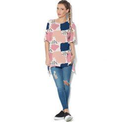 Colour Pleasure Koszulka CP-033  46 biało-różowo-brzoskwiniowa r. uniwersalny. Bluzki damskie Colour Pleasure. Za 76.57 zł.