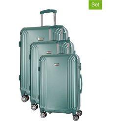Zestaw walizek w kolorze miętowym - 3 szt. Walizki męskie Platinium, z materiału. W wyprzedaży za 599.95 zł.