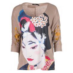 Desigual T-Shirt Damski Madame Butterfly L Beżowy. Brązowe t-shirty damskie Desigual. W wyprzedaży za 220.00 zł.