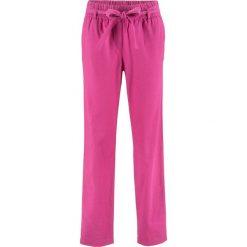 Spodnie lniane z wiązanym paskiem bonprix fuksja. Czerwone spodnie materiałowe damskie bonprix. Za 44.99 zł.
