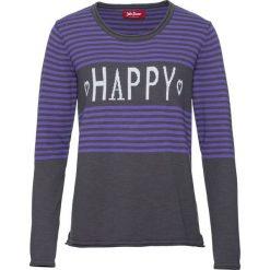 Sweter z dzianiny bawełnianej o splocie drobnych oczek bonprix szaro-lila. Swetry damskie marki bonprix. Za 49.99 zł.