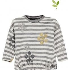Bluza w kolorze szarym. Szare bluzy dla dziewczynek bellybutton, w paski, z bawełny. W wyprzedaży za 42.95 zł.