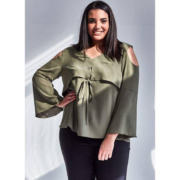 23d0042f84 Nowoczesna bluzka w kolorze KHAKI z wiązaniem duże rozmiary OVERSIZE ...