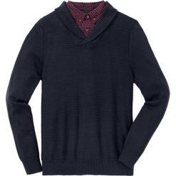 Sweter z koszulową wstawką Regular Fit bonprix ciemnoniebieski. Niebieskie swetry przez głowę męskie bonprix, z koszulowym kołnierzykiem. Za 129.99 zł.