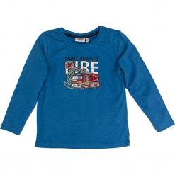 """Koszulka """"Rescue"""" w kolorze niebieskim. Niebieskie t-shirty dla chłopców marki Salt & Pepper, z nadrukiem, z długim rękawem. W wyprzedaży za 42.95 zł."""