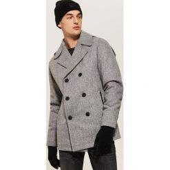Dwurzędowy płaszcz z wełną - Szary. Szare płaszcze męskie House, z wełny. Za 329.99 zł.
