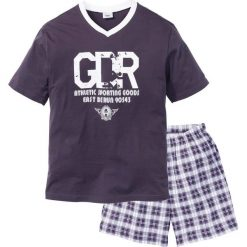Piżama z krótkimi spodenkami bonprix śliwkowo-biały. Fioletowe piżamy męskie bonprix, z krótkim rękawem. Za 44.99 zł.