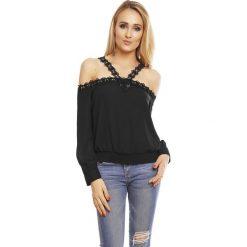 Bluzka top odkryte ramiona sh-l512. Czarne t-shirty i topy dla dziewczynek SH, w koronkowe wzory, z koronki, z długim rękawem. W wyprzedaży za 39.00 zł.
