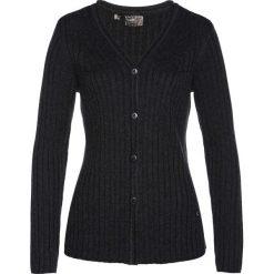 Sweter rozpinany z domieszką kaszmiru bonprix antracytowy melanż. Szare kardigany damskie bonprix, melanż, z kaszmiru. Za 189.99 zł.
