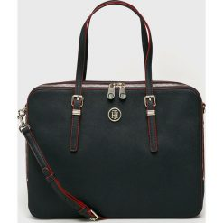 Tommy Hilfiger - Torba. Czarne torby na laptopa damskie Tommy Hilfiger, w paski, z materiału. Za 579.90 zł.