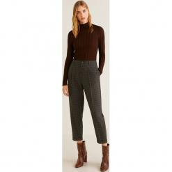 Mango - Spodnie 31977686. Brązowe spodnie materiałowe damskie Mango, z elastanu. Za 139.90 zł.