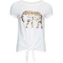 T-shirt ze złotym nadrukiem bonprix biały z nadrukiem. T-shirty damskie marki DOMYOS. Za 37.99 zł.
