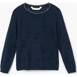 Mango Kids - Sweter dziecięcy Flamingo 110-164 cm. Swetry dla dziewczynek Mango Kids, z bawełny, z okrągłym kołnierzem. Za 89.90 zł.