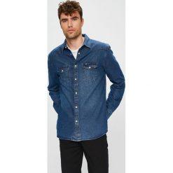 Wrangler - Koszula. Szare koszule męskie Wrangler, z bawełny, z klasycznym kołnierzykiem, z długim rękawem. Za 259.90 zł.