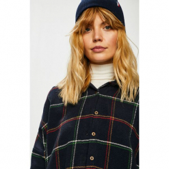 Trendyol - Koszula. Szare koszule damskie Trendyol, w kratkę, z bawełny, casualowe, z klasycznym kołnierzykiem, z długim rękawem. Za 119.90 zł.
