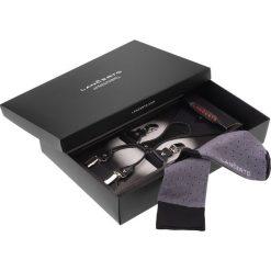 Zestaw Szelki plus Skarpety. Czarne skarpety męskie LANCERTO, w kolorowe wzory, z bawełny. Za 99.90 zł.