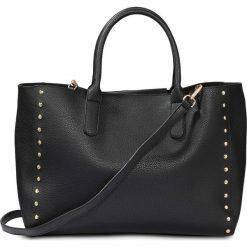 Torba shopper  z ćwiekami bonprix czarny - złoty kolor. Czarne torebki shopper damskie bonprix. Za 109.99 zł.