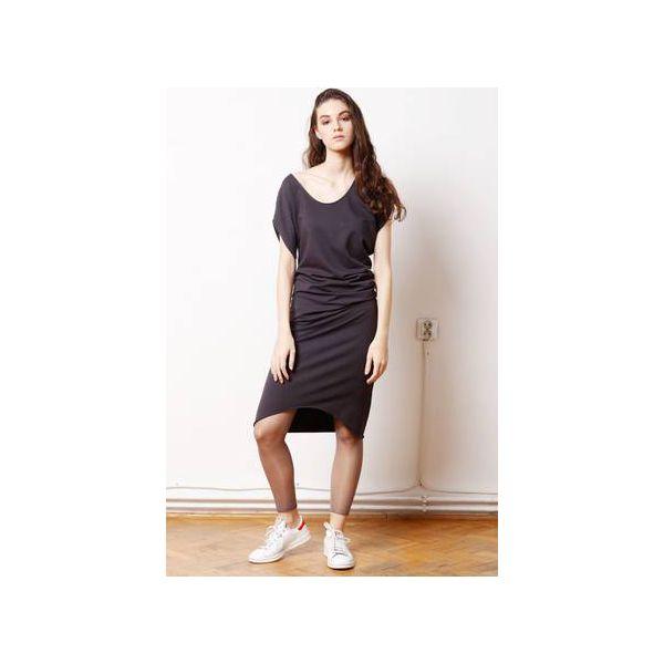 7dc3d41644 Wygodna Dzianinowa Sukienka Dresowa Grafit - Szare sukienki damskie ...