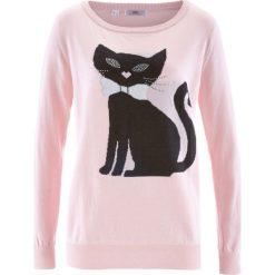 Sweter dzianinowy, długi rękaw bonprix pastelowy jasnoróżowy. Swetry damskie marki bonprix. Za 37.99 zł.