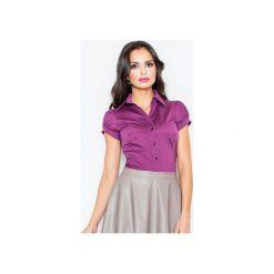 Koszula M026 Bakłażan. Fioletowe koszule damskie Figl, z bawełny, klasyczne, z klasycznym kołnierzykiem, z krótkim rękawem. Za 73.00 zł.