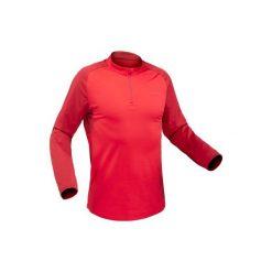 Koszulka turystyczna długi rękaw SH100 warm męska. Szare bluzki z długim rękawem męskie QUECHUA, ze stójką. Za 39.99 zł.