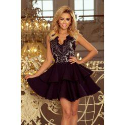 200-3 charlotte - ekskluzywna sukienka z koronkowym dekoltem - czarna. Czarne sukienki damskie NUMOCO, z koronki. Za 249.00 zł.