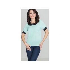 Bluzka K088 Mięta. Zielone bluzki damskie Lenitif, z materiału, eleganckie, z krótkim rękawem. Za 79.00 zł.