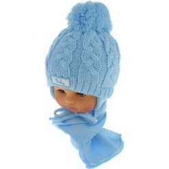 Czapka niemowlęca z szalikiem CZ+S 131B niebieska. Czapki dla dzieci marki Reserved. Za 39.76 zł.