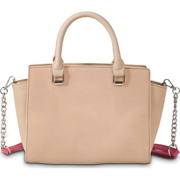 ca5d0670552bf Torebka trapezowa bonprix beżowo-różowy hibiskus - Czerwone torebki ...