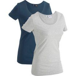 Długi t-shirt (2 szt.), krótki rękaw bonprix ciemnoniebieski + jasnoszary melanż. T-shirty damskie marki DOMYOS. Za 49.98 zł.