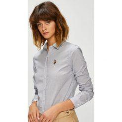 U.S. Polo - Koszula. Szare koszule damskie U.S. Polo, w paski, z bawełny, klasyczne, z klasycznym kołnierzykiem, z długim rękawem. W wyprzedaży za 299.90 zł.
