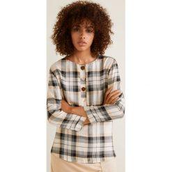 Mango - Bluzka Austin. Szare bluzki damskie Mango, z materiału, casualowe, z okrągłym kołnierzem, z krótkim rękawem. Za 119.90 zł.