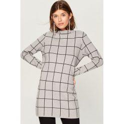 Długi sweter ze stójką - Szary. Swetry damskie marki bonprix. W wyprzedaży za 99.99 zł.