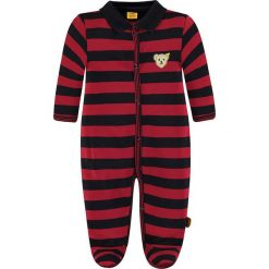 Śpioszki w kolorze czarno-czerwonym. Czarne śpioszki niemowlęce marki Steiff, z bawełny. W wyprzedaży za 99.95 zł.