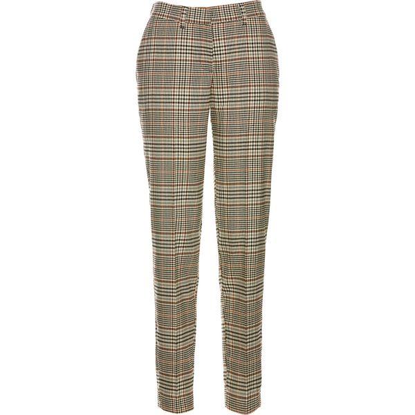 Spodnie ze stretchem bonprix jasnobrązowy w kratę