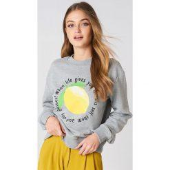 Rut&Circle Bluza Lemon - Grey. Szare bluzy damskie Rut&Circle, z nadrukiem. Za 121.95 zł.