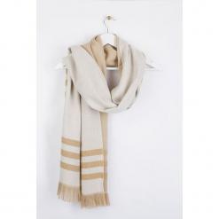 """Szal """"Brirayure"""" w kolorze beżowo-kremowym - 180 x 60 cm. Białe szaliki i chusty damskie Scottage, w paski, z wełny. W wyprzedaży za 58.95 zł."""