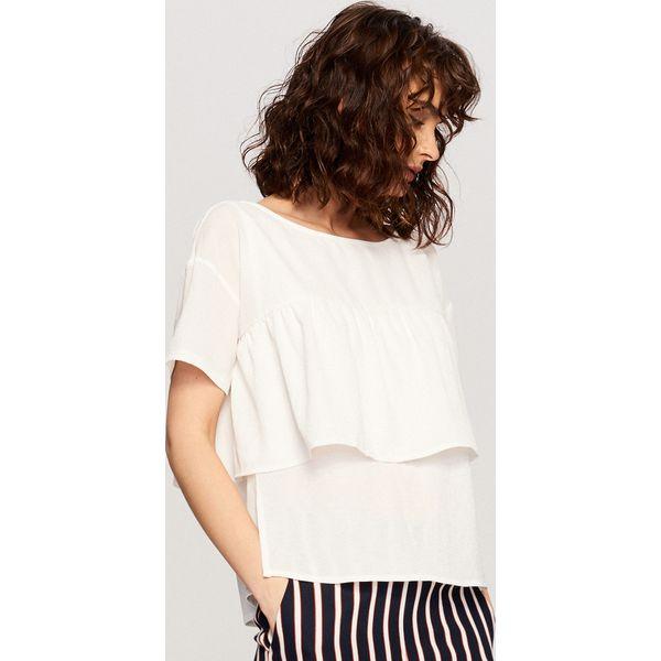 bfae5a3369a5a5 Bluzka z falbaną - Kremowy - Białe bluzki damskie Reserved, bez ...