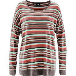 Sweter bonprix jasny miętowy w paski. Zielone swetry damskie bonprix, z okrągłym kołnierzem. Za 37.99 zł.