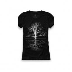 Koszulka UNDERWORLD Ring spun cotton Drzewo. Czarne t-shirty damskie Underworld, z nadrukiem, z bawełny. Za 59.99 zł.
