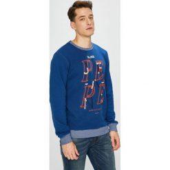 Pepe Jeans - Bluza Justin. Niebieskie bluzy męskie Pepe Jeans, z nadrukiem, z bawełny. Za 259.90 zł.