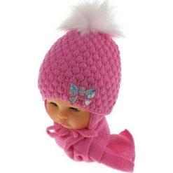 Czapka niemowlęca z szalikiem CZ+S 123C różowa. Czapki dla dzieci marki Reserved. Za 42.82 zł.